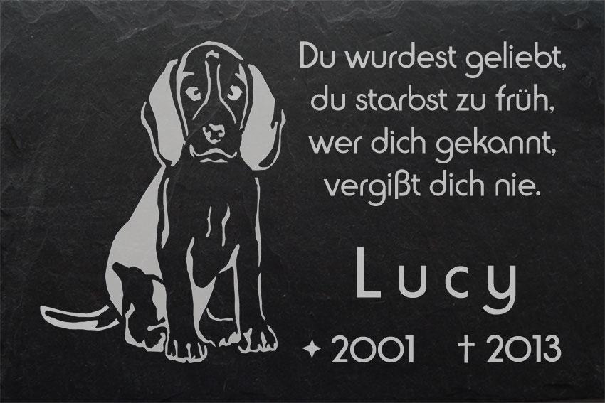 hund 002 beagle hundegrabstein grabschmuck ihr text