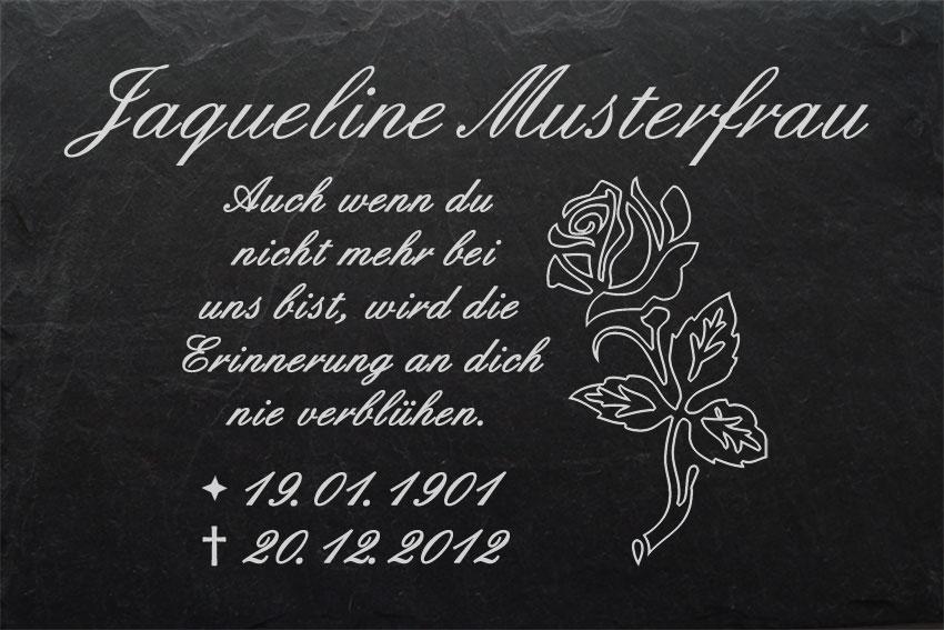 Grabstein Schiefer Stein Grab Tafel mit Rose-001 @ MIT IHREM TEXT @ 30 x 20 cm