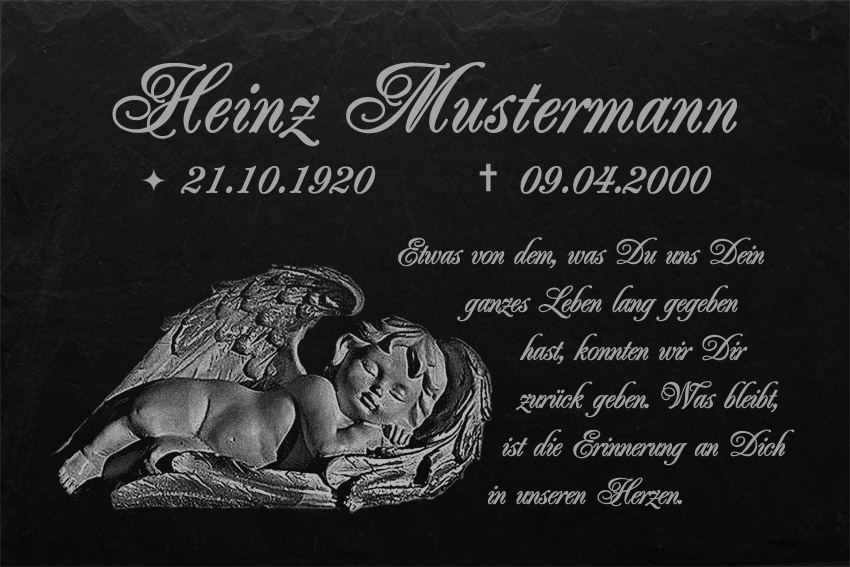 023 ► Wunsch Gravur ◄ 35 x 25 cm Gedenktafel Grabtafel Grabplatte Grabstein