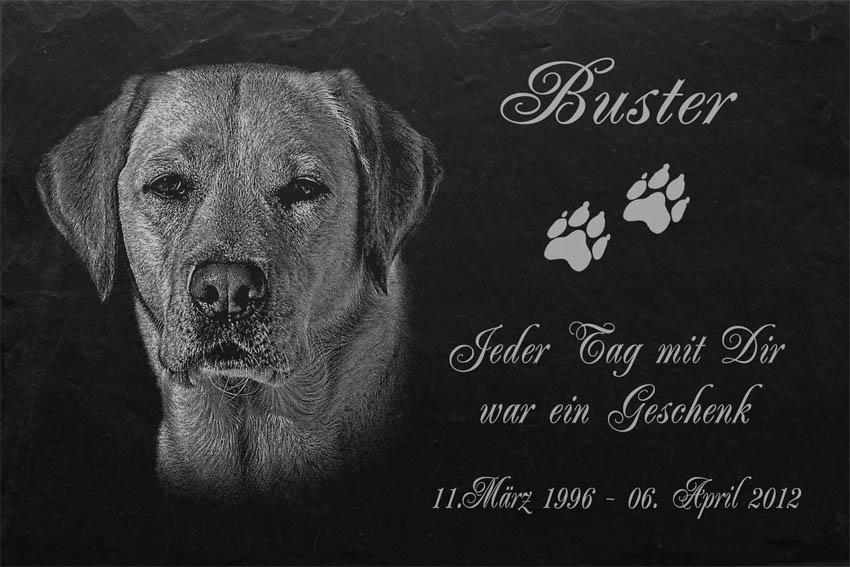 Text ◄ 20x15 cm Tiergrabstein Grabstein  Keramik Porzellan Hund-p03 ► Ihr Foto